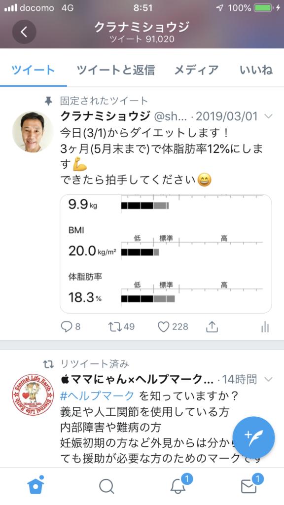 Twitterダイエット宣言2019