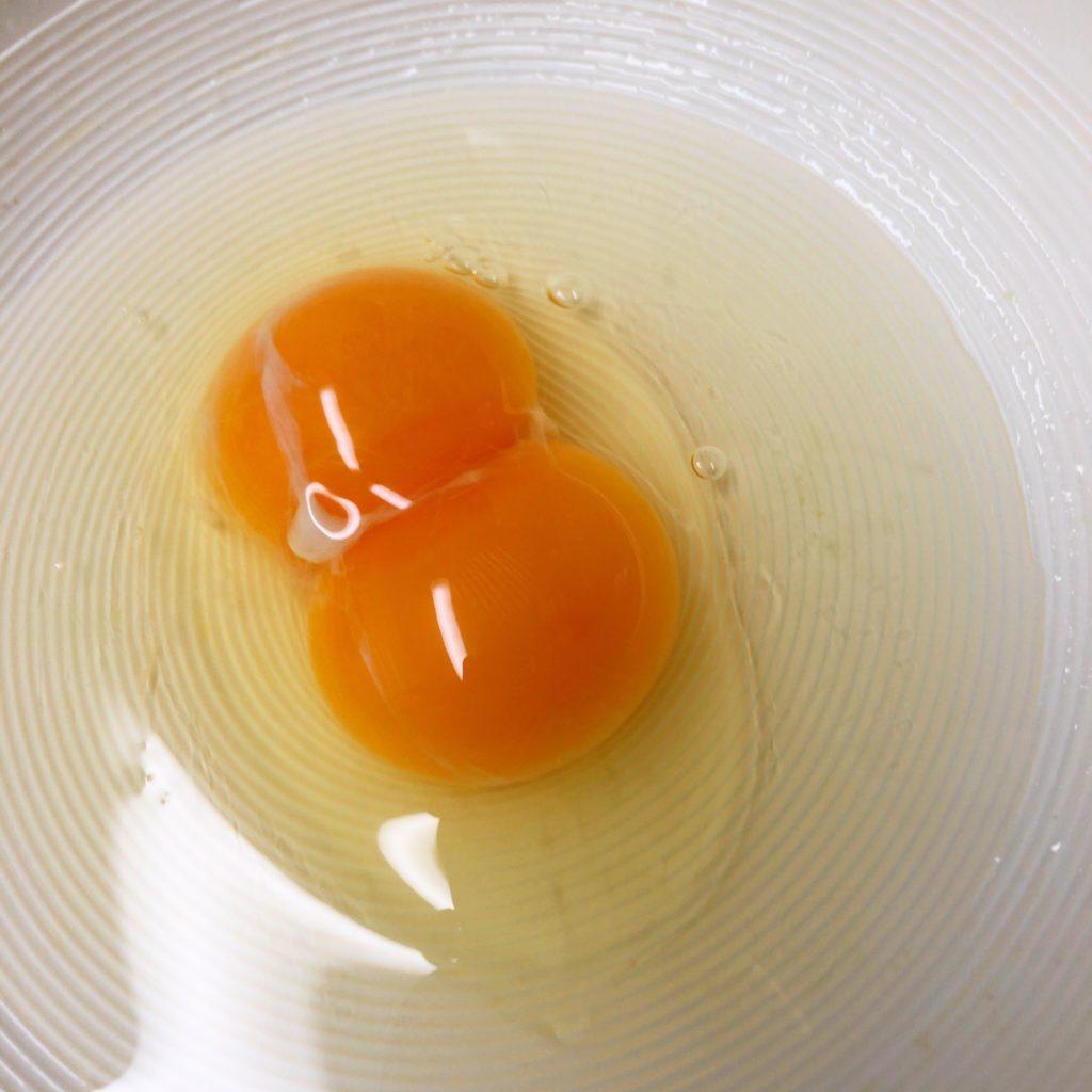 卵の黄身が二つ